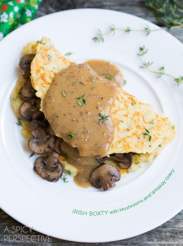 Boxty: Irish Potato Pancakes with Sauteed Mushrooms and Whiskey Gravy #stpaddyday #stpatricksday #irish #recipe