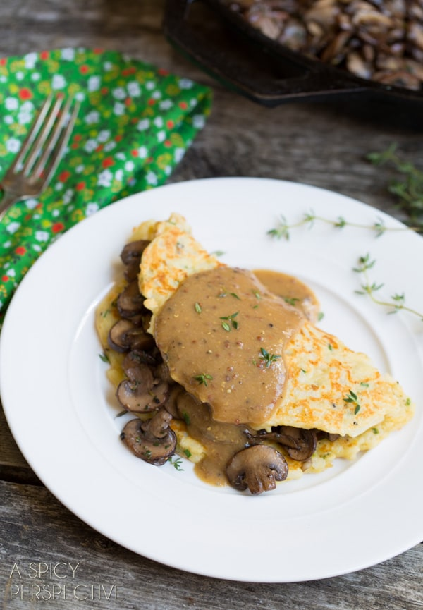 The Amazing Boxty: Irish Potato Pancakes with Sauteed Mushrooms and Whiskey Gravy #stpaddyday #stpatricksday #irish #recipe