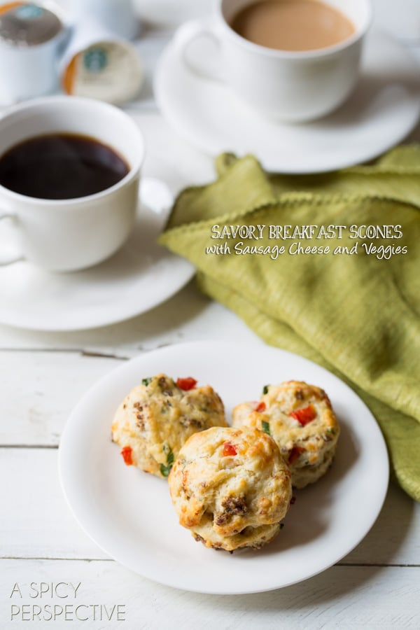 Savory Breakfast Scones with #sausage #cheese and #redpeppers! #scones