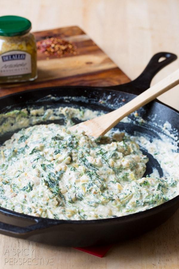 Making: Spinach Artichoke Pasta! #pasta #spinachartichoke #recipe