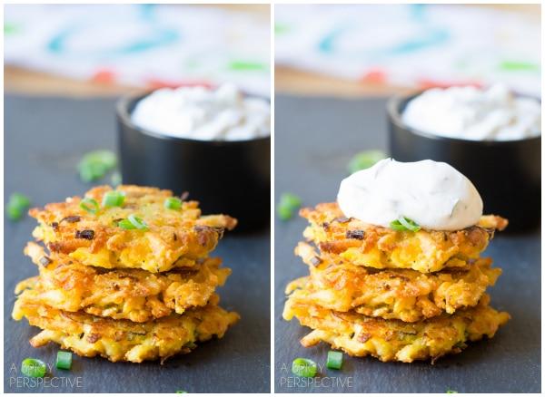 Easy Potato Latkes with Jalapeño Dill Sauce #spring #potato #easter #appetizer