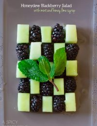 Blackberry Honeydew Salad with Honey Lime Syrup #spring #salad #fruitsalad