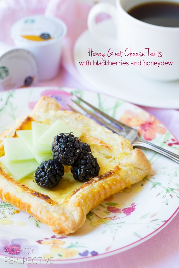 Honey Goat Cheese Tart with Blackberries and Honeydew! #spring #brunch #giveaway #goatcheese #tart