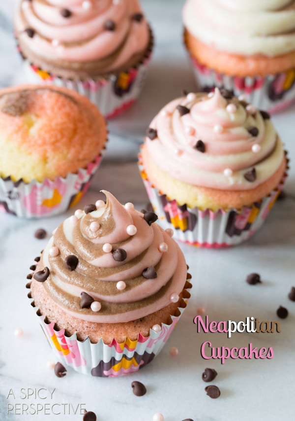 Neapolitan Cupcakes! #spring #cupcakes #easter #neapolitan #cake