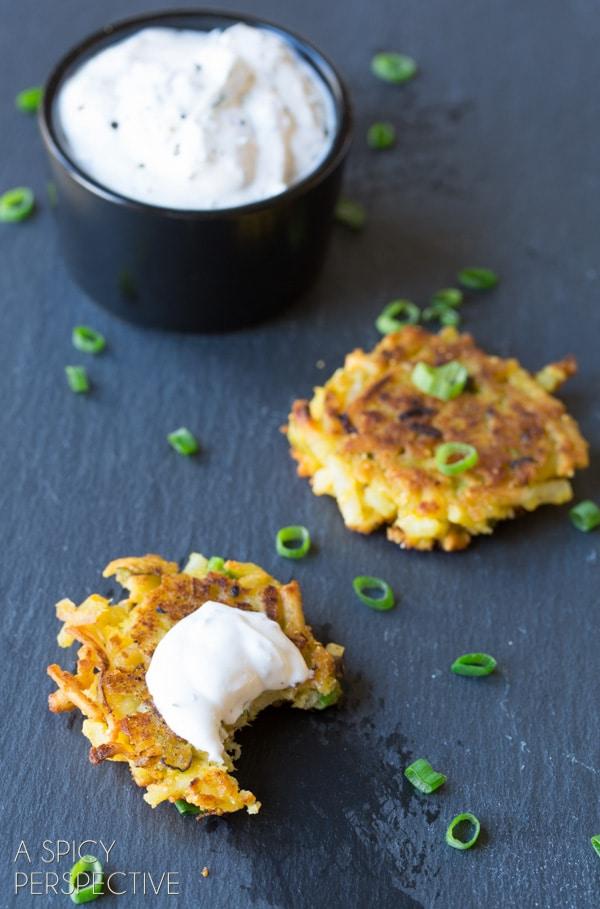 Simple Potato Latkes with Jalapeño Dill Sauce #spring #potato #easter #appetizer
