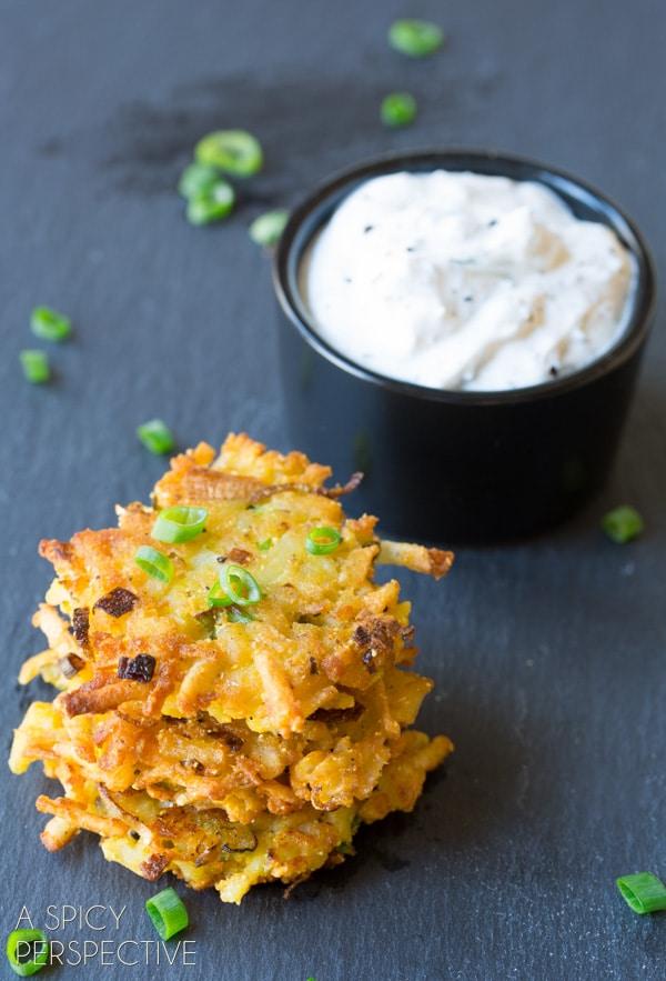 Potato Latkes with Jalapeño Dill Sauce #spring #potato #easter #appetizer