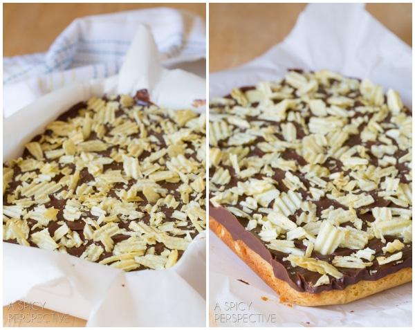 "How to Make ""Chocolate Potato Chips"" Cookie Bars on ASpicyPerspective.com #chocolate #potatochips #cookiebars"