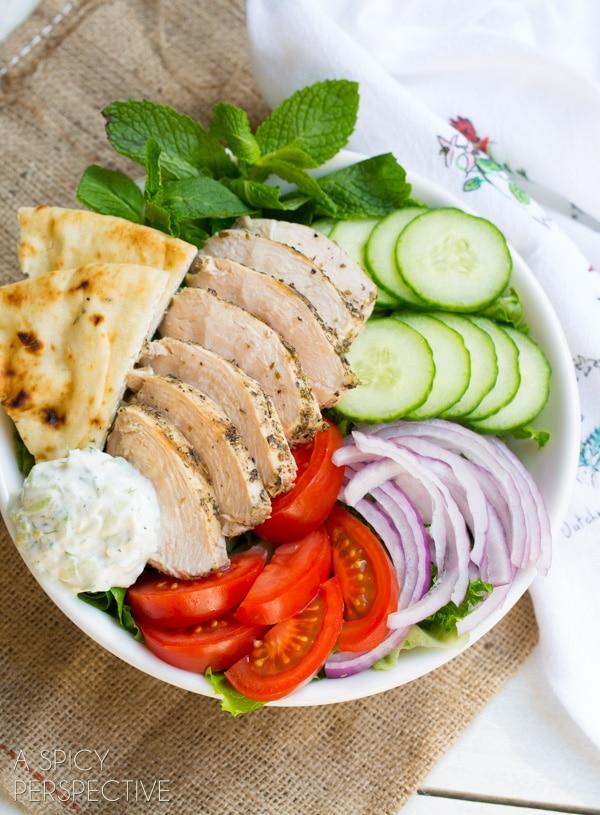 Easy Chicken Gyro Salad (or Wraps) with Creamy Tzatziki Sauce! #gyro #salad #tzatzikisauce