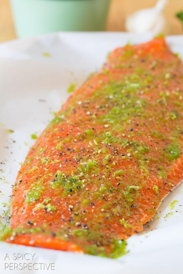 Seasoning Fish #ASpicyPerspective #Salmon #BakedSalmon #OvenBakedSalmon #SalmonInTheOven #HowLongtoBakeSalmon #Garlic #Lime #Jalapeno #SpicySalmon #Dinner #Fish