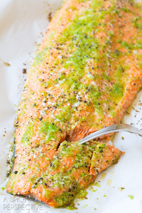 Garlic Lime Salmon in the Oven #ASpicyPerspective #Salmon #BakedSalmon #OvenBakedSalmon #SalmonInTheOven #HowLongtoBakeSalmon #Garlic #Lime #Jalapeno #SpicySalmon #Dinner #Fish