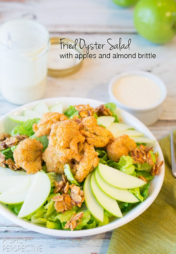 Fried Oyster Salad with Apples and Almond Brittle - Amazing! #summer #salad #oysters
