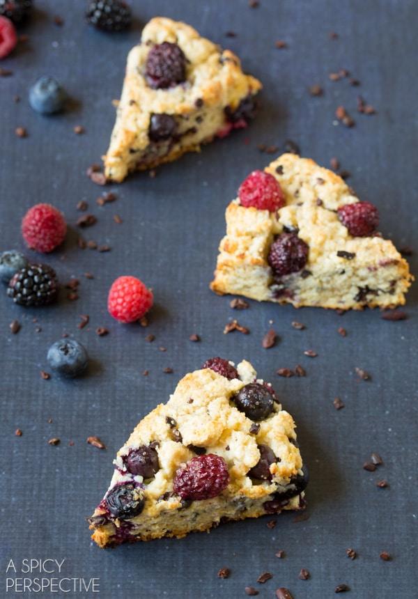 Easy Berry Cocoa Nib Scones! #scones #sconerecipe #berry