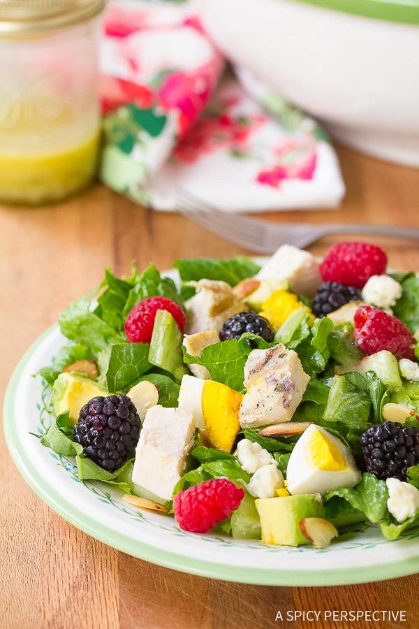 Zesty Summer Cobb Salad Recipe with Creamy Garlic Lime Vinaigrette