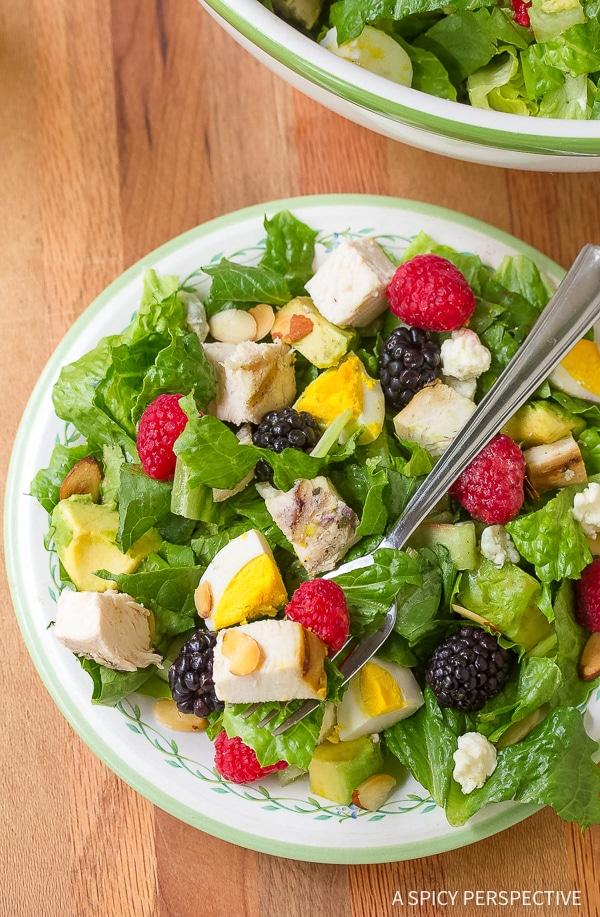 Easy Summer Cobb Salad Recipe with Creamy Garlic Lime Vinaigrette