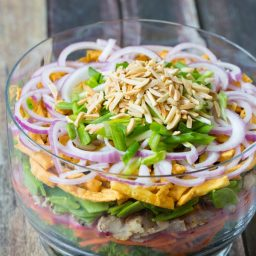 9 Layer Asian Salad + Asian Salad Dressing #salad #summer #potluck