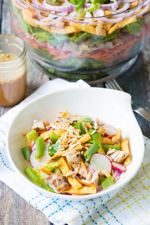 Fabulous 9 Layer Asian Salad + Asian Salad Dressing #salad #summer #potluck