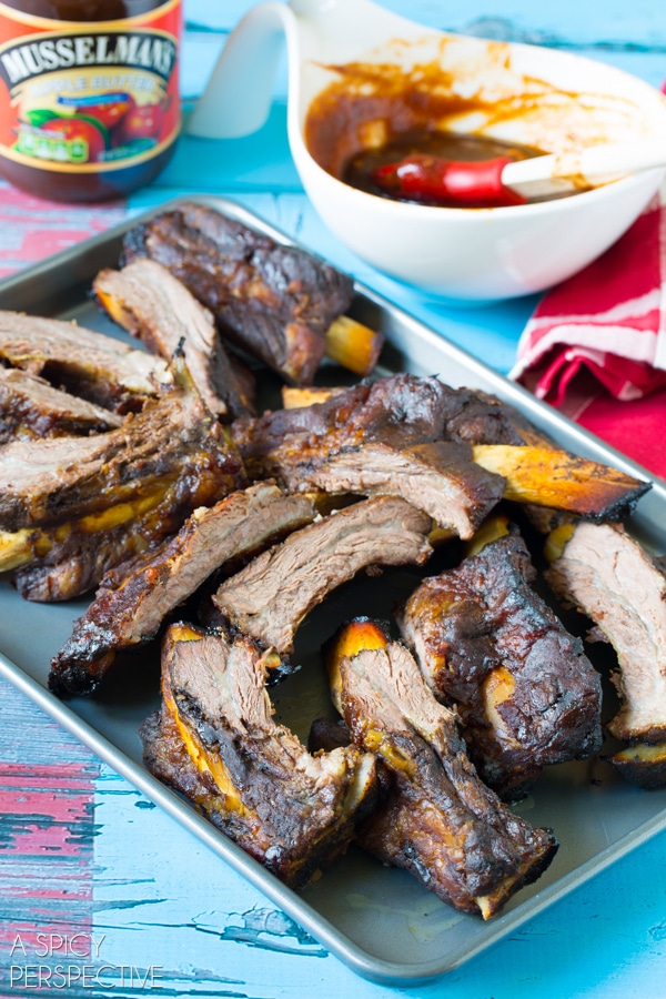 Simple Asian Beef Ribs Recipe on ASpicyPerspective.com #ribs #grilling #summer #AppleButterSpin