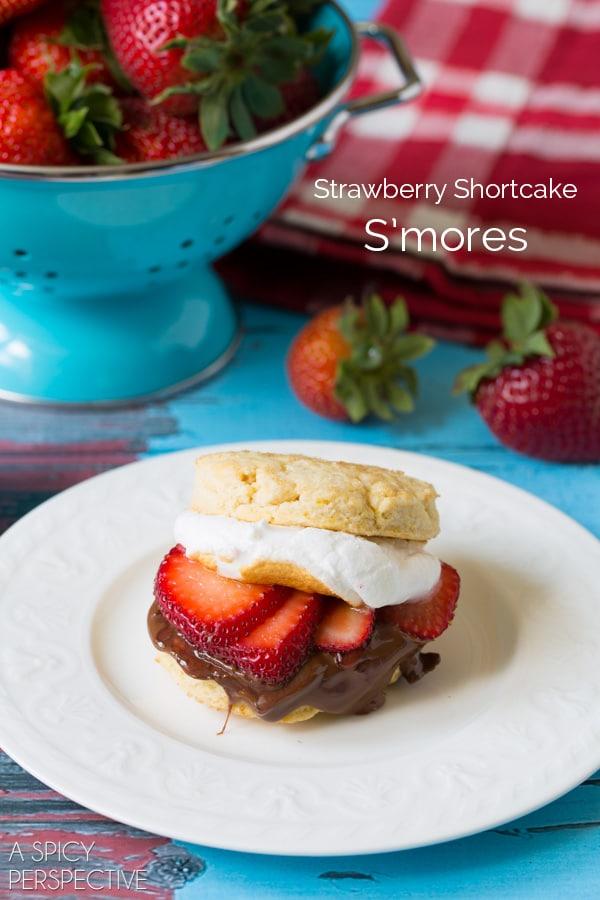 Indulgent S'mores Strawberry Shortcake Recipe #smores #summer #strawberryshortcake