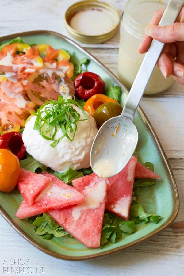 Simple Watermelon Salad with Heirloom Tomatoes, Burrata, and Sparkling Yogurt Dressing! #Summer #Salad #realcalifmilk