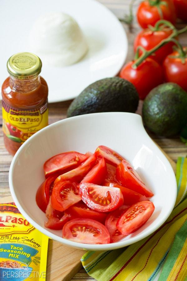 Easy Mexican Caprese Salad! #mexican #caprese #salad