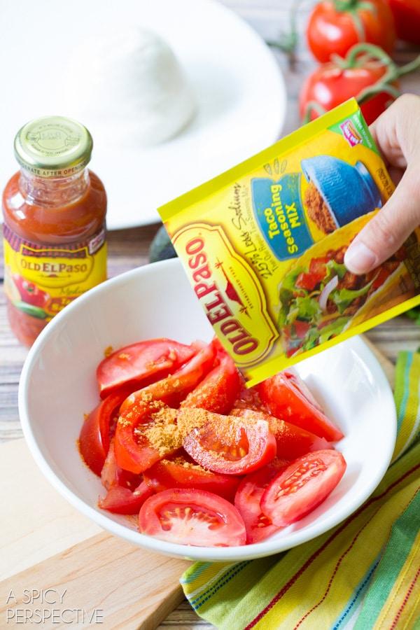 Simple Mexican Caprese Salad! #mexican #caprese #salad