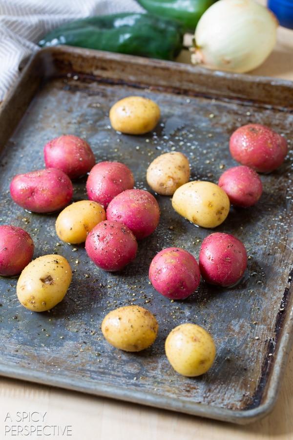 Making Crispy Smashed Potatoes on ASpicyPerspective.com
