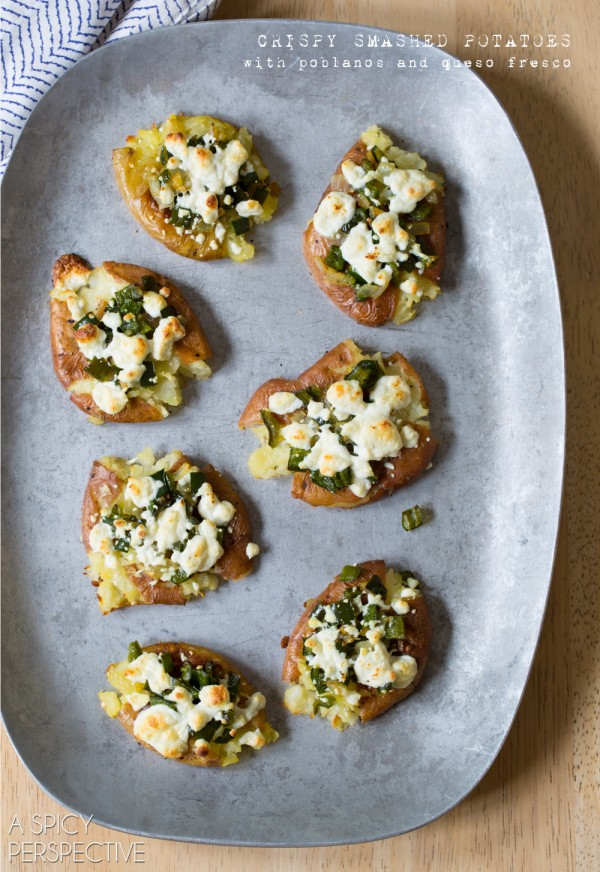 Crispy Smashed Potatoes with Poblanos and Cheese on ASpicyPerspective.com