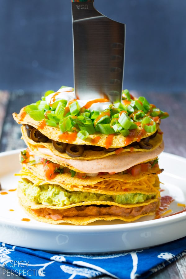 Awesome Seven Layer Dip Tostada Stack #7LayerDip #Mexican #party