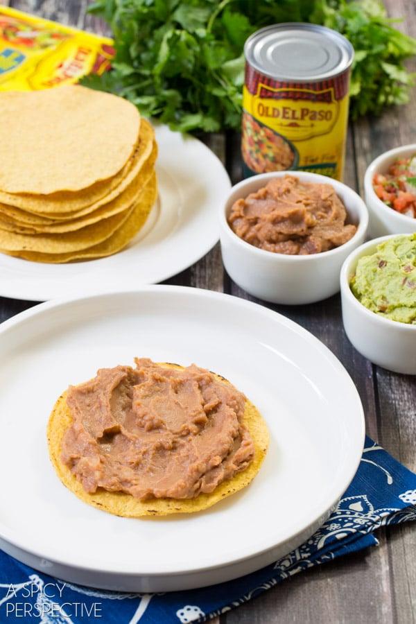 7 Layer Dip Tostada Stack #7LayerDip #Mexican #party