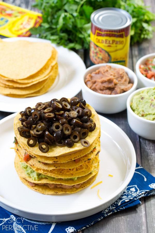 Simple Seven Layer Dip Tostada Stack #7LayerDip #Mexican #party