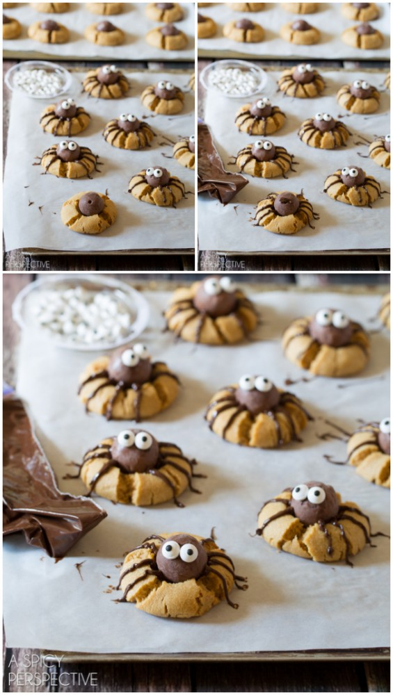 Easy Chocolate Peanut Butter Spider Cookies - SPIDERS! #halloween #spiders