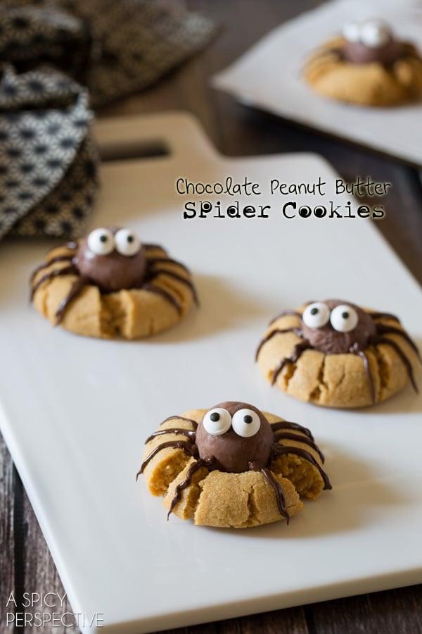 Chocolate Peanut Butter Spider Cookies #ASpicyPerspective #Halloween #ChocolatePeanutButter #PeanutButterCookies #Cookies #Dessert #Chocolate #SpiderCookies #HalloweenCookies