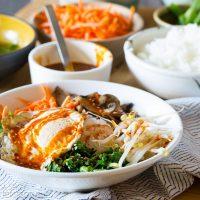 Korean Bibimbap - Rice and Veggie Bowl with a Fried Egg and Gochujang Sauce #vegetarian