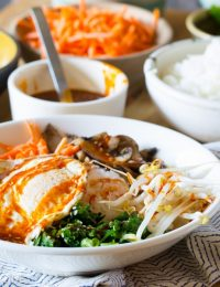 Korean Bibimbap - Rice and Veggie Bowl with a Fried Egg and Gochujang Sauce #vegetarian