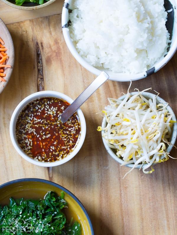 How to Make Korean Bibimbap - Rice and Veggie Bowl with a Fried Egg and Gochujang Sauce #vegetarian #healthy #Korean
