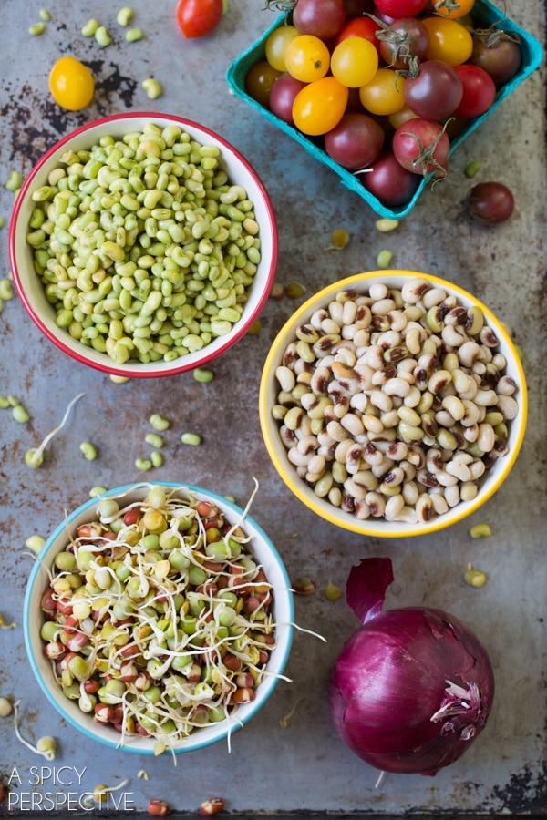 Recipe Ingredients #ASpicyPerspective #Bean #Salad #BeanSalad #BeanSaladRecipe #Healthy #Vegan #GlutenFree #Vegetarian #Tomatoes #BlackEyedPeas #FieldPeas #Lentils