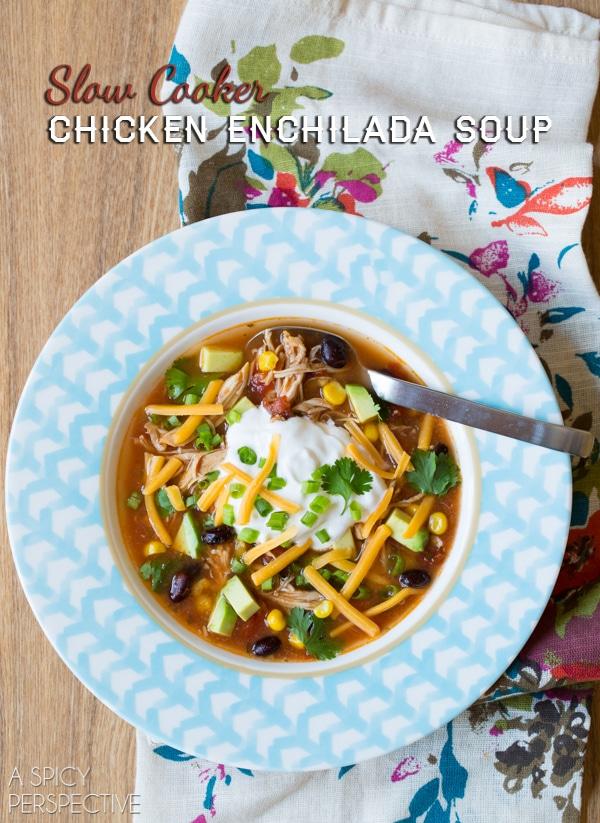Slow Cooker Chicken Enchilada Soup #slowcooker #crockpot #healthy