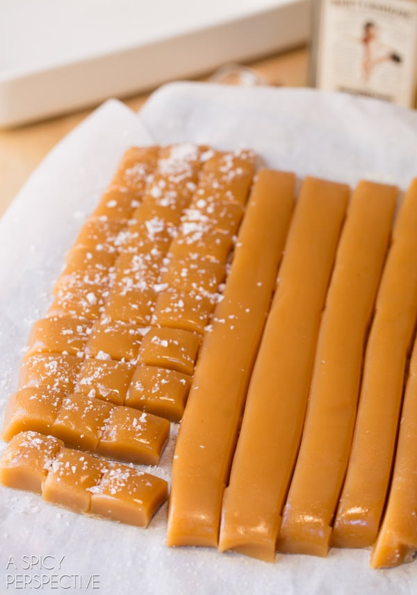 THE BEST Salted Caramel Candy Recipe with a hint of Bourbon! #caramel #saltedcaramel #holiday #homemade
