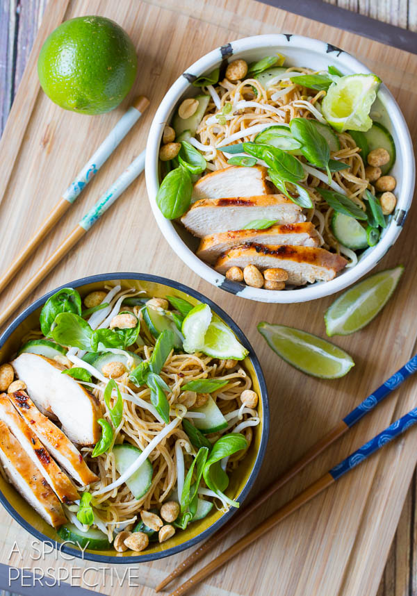 Fresh and Vibrant Thai Chicken Noodle Bowl with Peanut Sauce