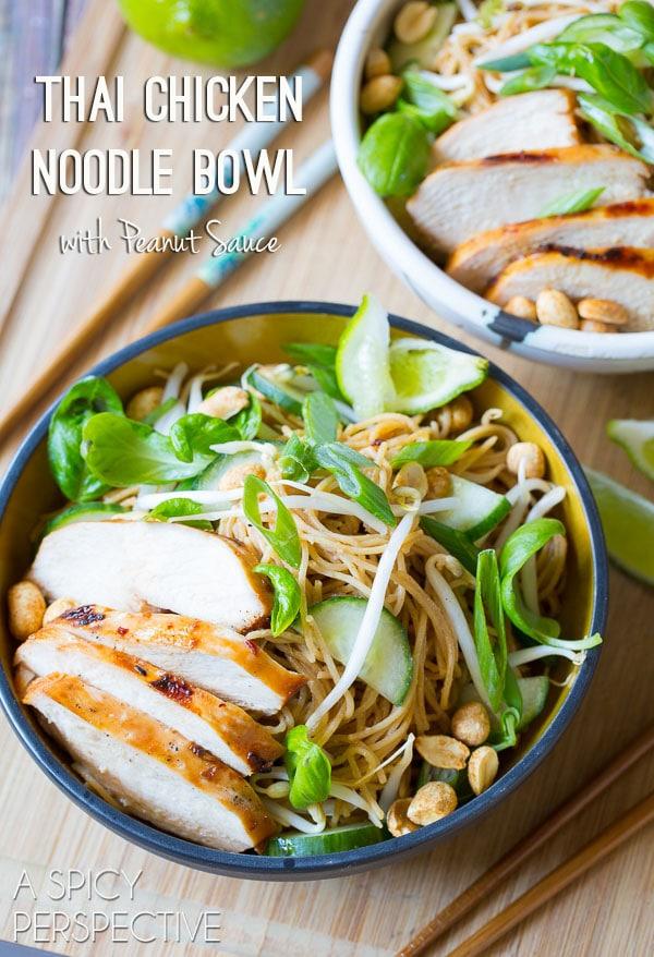 Fresh Thai Chicken Noodle Bowl with Peanut Sauce