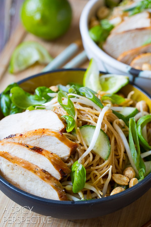 Amazing Thai Chicken Noodle Bowl with Peanut Sauce