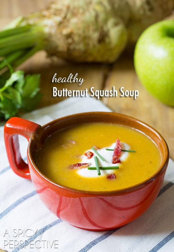 Healthy Butternut Squash Soup Recipe #soup