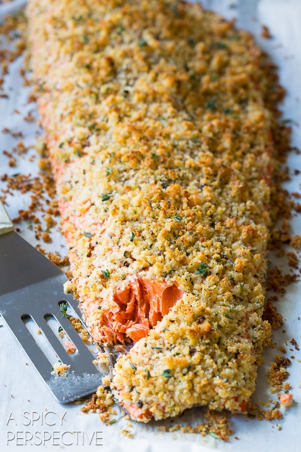 Tender Oven Baked #Salmon with Parmesan Herb Crust on ASpicyPerspective.com