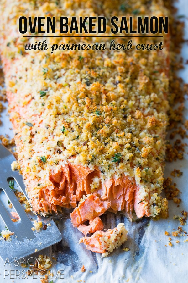 Flaky Crispy Oven Baked Salmon with Parmesan Herb Crust on ASpicyPerspective.com #salmon