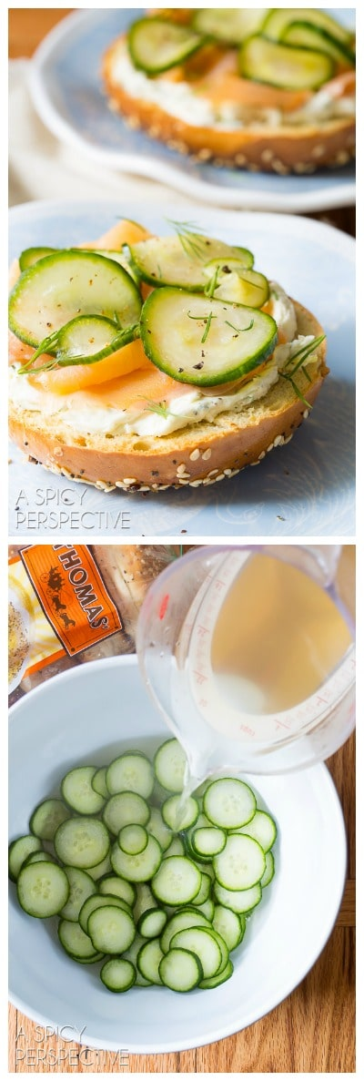 Fresh Homemade Quick Pickles Smoked Trout Herbed Cream Cheese Bagels - AWESOME! #brunch #spring
