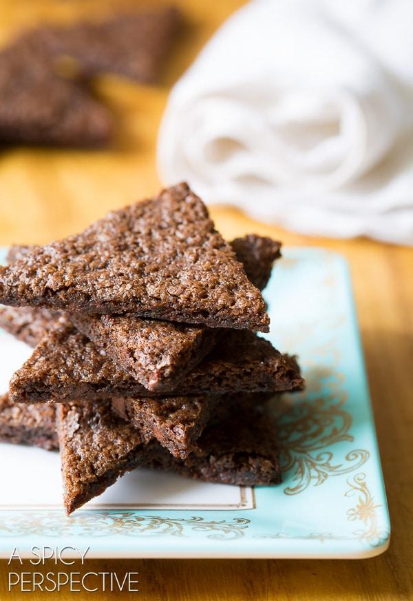 OMG... The Best Chocolate Malt Brownie Brittle Recipe on ASpicyPerspective.com #brownies #brittle