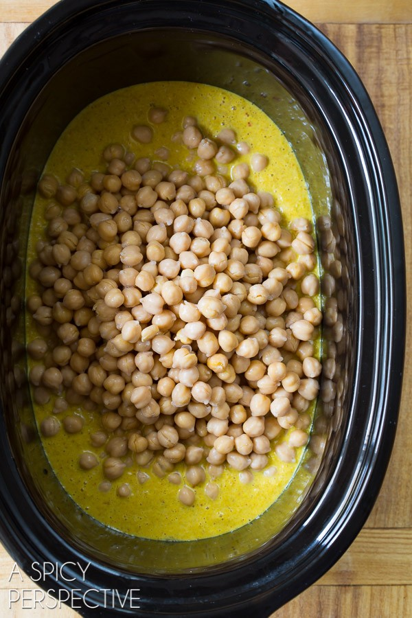 Crockpot Curry #ASpicyPerspective #SlowCooker #Crockpot #Chickpea #Curry #ChickpeaCurry #ChickpeaCurryRecipe #CrockpotCurry #IndianCurry #Indian #GlutenFree