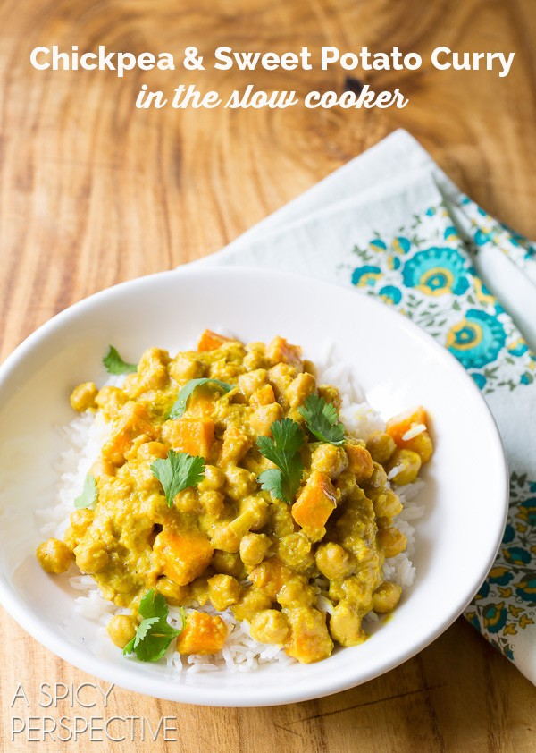 Crockpot Chickpea Curry Recipe #ASpicyPerspective #SlowCooker #Crockpot #Chickpea #Curry #ChickpeaCurry #ChickpeaCurryRecipe #CrockpotCurry #IndianCurry #Indian #GlutenFree