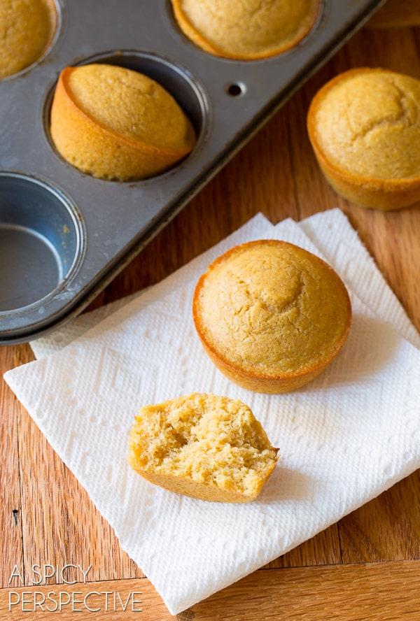 I love these Honey Cinnamon Cornbread Muffins on ASpicyPerspective.com #cornbread #bread