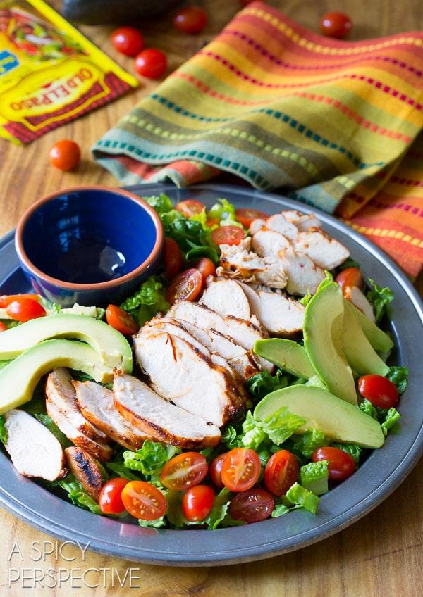 Mexican Chicken Salad #ASpicyPerspective #GrilledChickenSalad #GrilledChicken #Salad #MexicanSalad #ChickenSalad #MexicanChickenSalad #MexicanGrilledChickenSalad